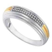 10KT White Gold 0.10CT DIAMOND MICRO PAVE MENS BAND #55870v3