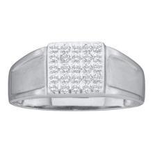 14KT White Gold 0.12CTW ROUND DIAMOND MENS CLUSTER RING #55389v3