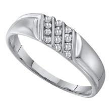 10KT White Gold 0.12CT DIAMOND MENS FASHION BAND #55374v3