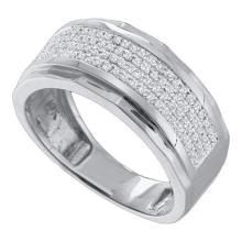 10KT White Gold 0.35CT DIAMOND MICRO PAVE MENS BAND #55875v3