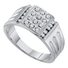 10KT White Gold 0.25CTW DIAMOND CLUSTER MENS RING #55370v3