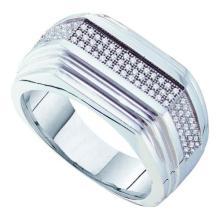 10KT White Gold 0.30CT DIAMOND MICRO PAVE MENS RING #55871v3