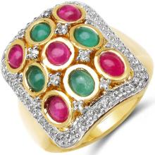 14K Yellow Gold Plated 2.79 Carat Genuine Emerald, Ruby & White Topaz .925 Sterling Silver Ring #78584v3