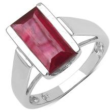 3.50 Carat Genuine Ruby .925 Streling Silver Ring #78489v3