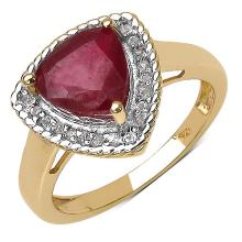 14K Yellow Gold Plated 4.03 Carat Genuine Ruby .925 Sterling Silver Ring #78520v3