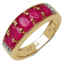 14K Yellow Gold Plated 2.77 Carat Genuine Ruby & White Topaz .925 Streling Silver Ring #78550v3