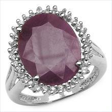 10.20 Carat Genuine Ruby & White Topaz .925 Streling Silver Ring #78559v3