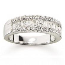 14KT WHITE GOLD PRINCESS CUT, BAGUETTE & ROUND DIAMOND WEDDING BANG 1.33 CTW G/SI1 #44166v3