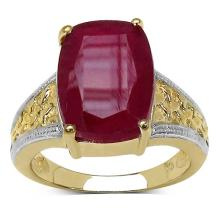 14K Gold Plated 11.40 Carat Genuine Glass Filled Ruby Sterling Silver Ring #77347v3