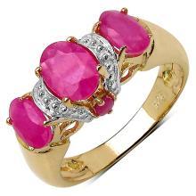 14K Gold Plated 2.40 Carat Genuine Ruby Sterling Silver Ring #78825v3