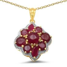 14K Yellow Gold Plated 4.30 Carat Genuine Ruby .925 Sterling Silver Pendant #78788v3