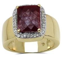 14K Yellow Gold Plated 5.00 Carat Genuine Ruby & White Topaz .925 Streling Silver Ring #77336v3
