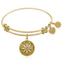 Expandable Bangle in Yellow Tone Brass with Compass Personal Direction Symbol #93170v2