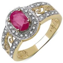 0.92 Carat Genuine Ruby and 0.18 ct.t.w Genuine Diamond Accents 10K Yellow Gold Ring #77871v3