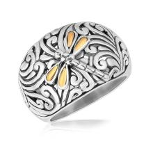 18K Yellow Gold and Sterling Silver Dragonfly Accented Domed Style Ring #93753v2