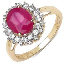 3.31 Carat Genuine Ruby 10K Yellow Gold Ring #78194v3