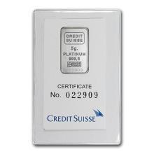 5 gram Platinum Bar - Credit Suisse (In Assay) #75650v3