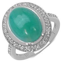 6.16 Carat Genuine Emerald & White Topaz .925 Streling Silver Ring #78148v3