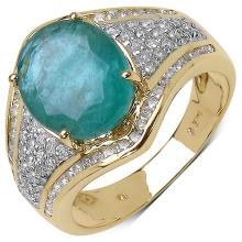 3.16 Carat Genuine Zambian Emerald and 0.54 ct.t.w Genuine Diamond Accents 14K Yellow Gold Ring #77518v3