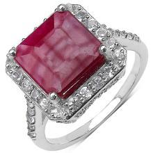 5.35 Carat Genuine Ruby .925 Sterling Silver Ring #78193v3