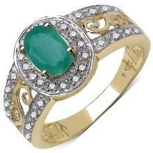 0.72 Carat Genuine Emerald and 0.18 ct.t.w Genuine Diamond Accents 10K Yellow Gold Ring #77870v3