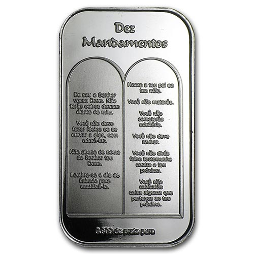 1 Oz Silver Bar Ten Commandments Portuguese 52903v3