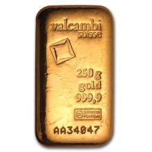 250 gram Gold Bar - Valcambi (Poured w/Assay) #75214v3