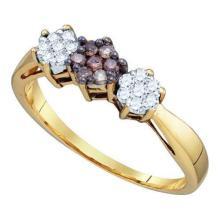 10KT Yellow Gold 0.26CTW COGNAC DIAMOND FLOWER RING #32619v3
