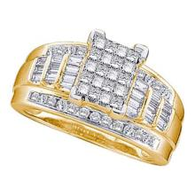 10KT Yellow Gold 0.50CTW PRINCESS BAGGUETTE ROUND DIAMOND LADIES RING #32219v3