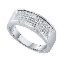 925 Sterling Silver White 0.30CT DIAMOND MICRO-PAVE BAND #32319v3