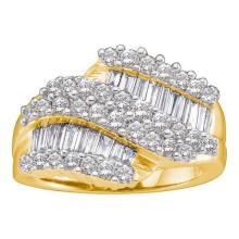 14KT Yellow Gold 1.50CTW ROUND BAGGUETTE DIAMOND LADIES FASHION BAND #44620v3