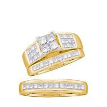 14KT Yellow Gold 1.65CTW DIAMOND INVISIBLE TRIO SET #44625v3