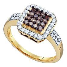 10KT Yellow Gold 0.55CTW COGNAC DIAMOND LADIES FASHION RING #32718v3