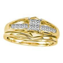 14KT Yellow Gold 0.49CTW DIAMOND PRINCESS CENTER BRIDAL SET #32584v3