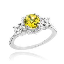 10K White Gold Citrine Diamond Engagement Ring APPROX 1.80 CTW (SI1) #23796v3