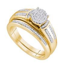 10KT Yellow Gold 0.25CTW DIAMOND MICRO PAVE BRIDAL SET #33040v3
