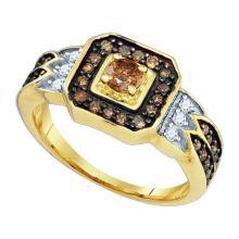 10KT Yellow Gold 0.68CT DIAMOND 0.25CT CRD BRIDAL RING #32618v3