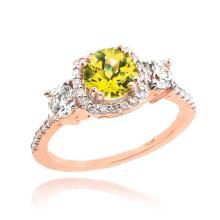 10K Rose Gold Citrine Diamond Engagement Ring APPROX 1.80 CTW (SI1) #23795v3