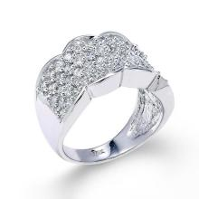 14 White Gold Micro Pave Floral Band Ring APPROX .95 CTW (VS2-SI1) #23827v3
