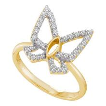 14KT Yellow Gold 0.34CTW DIAMOND BUTTERFLY RING #44647v3