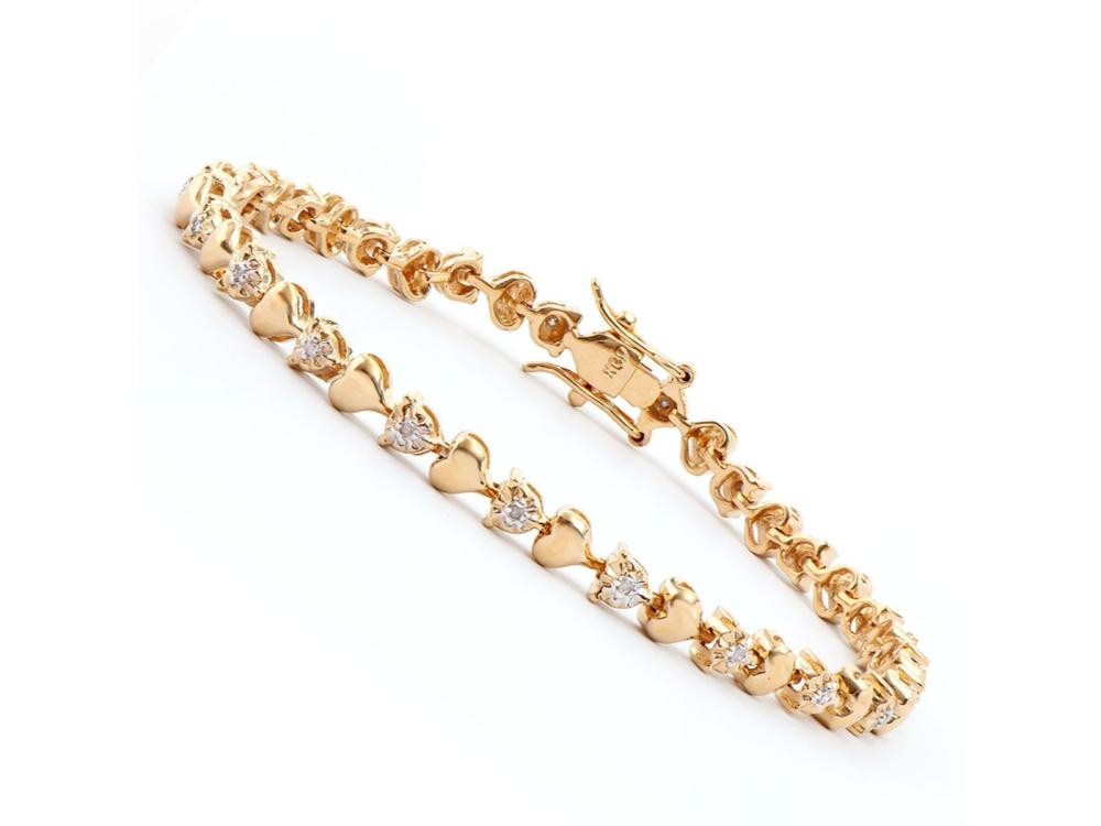 Plated 18KT Yellow Gold Diamond Heart Bracelet