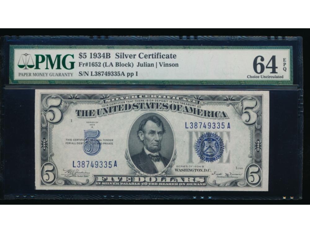 1934B $5 Silver Certificate PMG 64EPQ