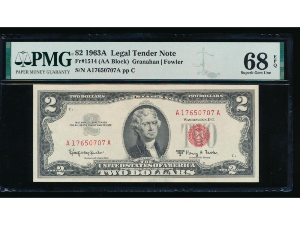 1963A $2 Legal Tender Note PMG 68EPQ