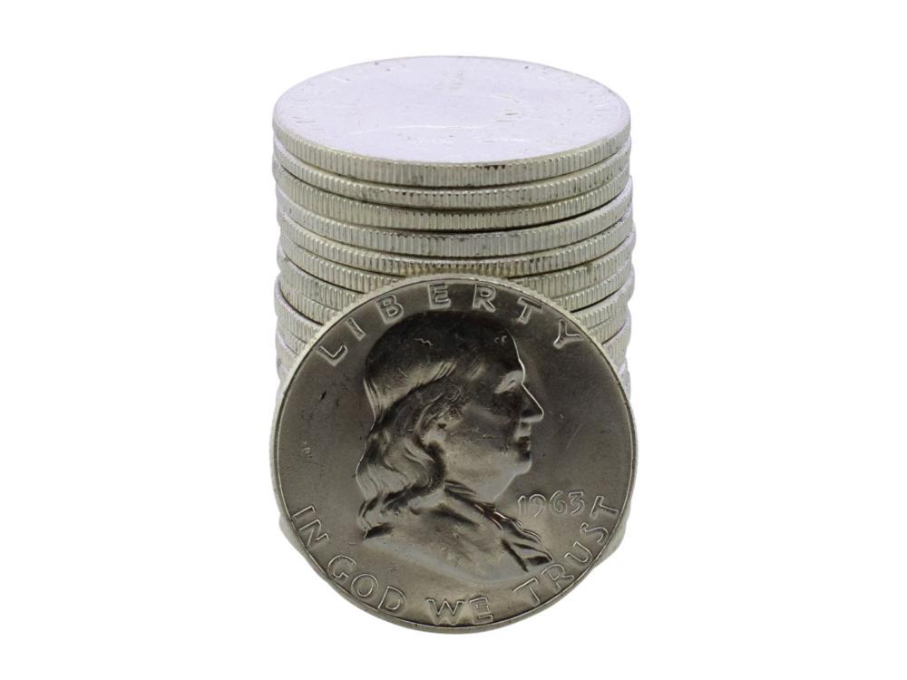 Roll of (20) Brilliant Uncirculated 1963 Franklin Half Dollar Coins