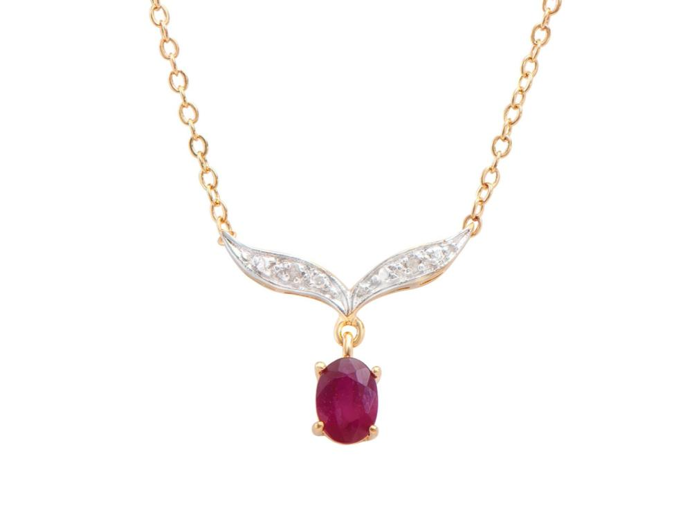 Plated 18KT Yellow Gold 1.00ct Ruby and Diamond Pendant with Chain