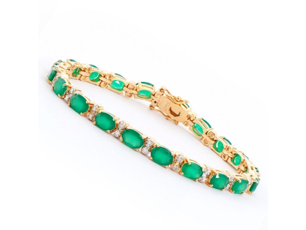 Plated 18KT Yellow Gold 12.50ctw Green Agate and Diamond Bracelet