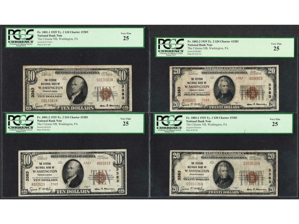 1929 Ty. 1/ 2 $10/20 Citizens NB Washington, PA National Currency Notes PCGS VF25 Lot