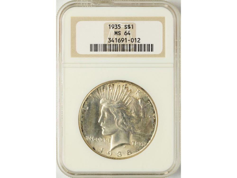 1935 $1 Peace Silver Dollar Coin NGC MS64
