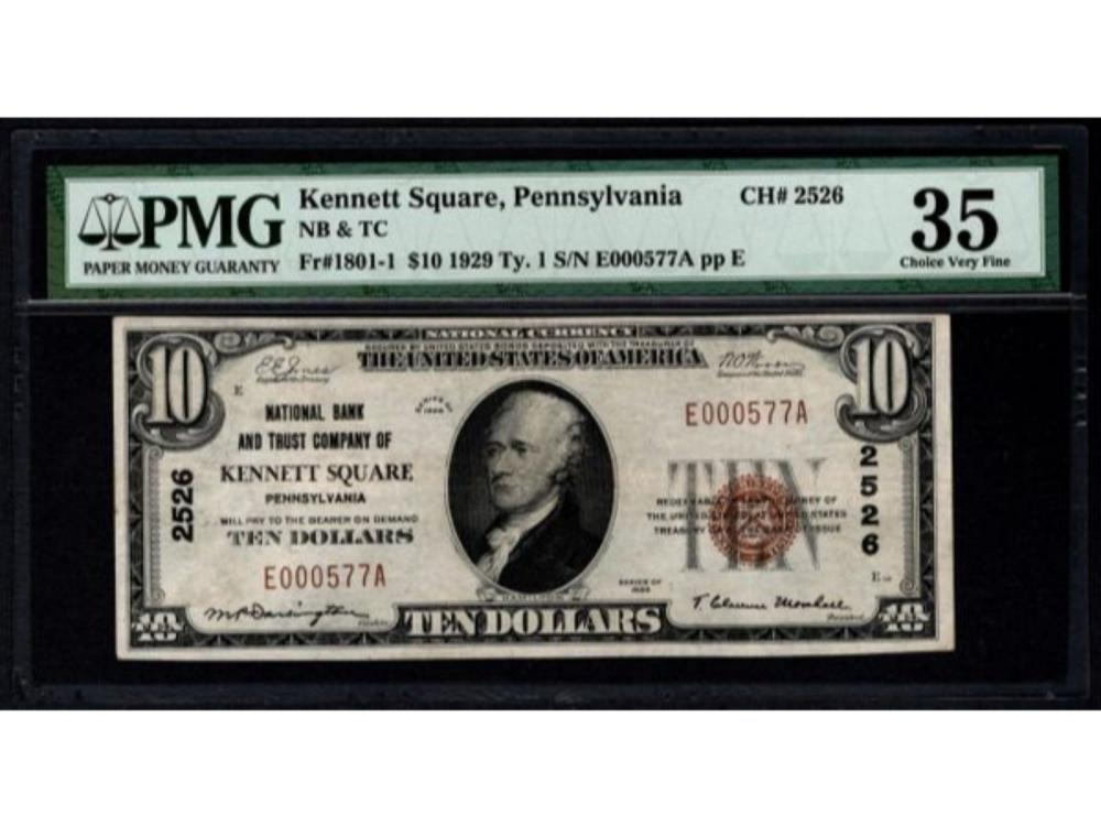1929 $10 Kennett National Bank Note PMG 35
