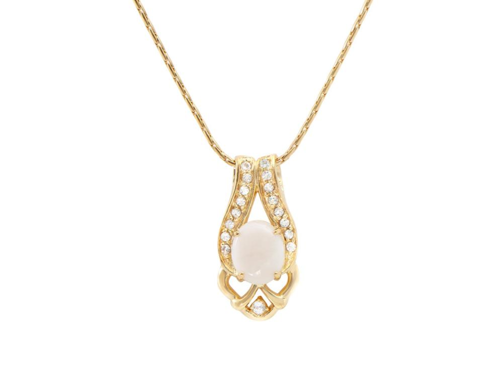 Plated 18KT Yellow Gold 3.00ct Opal and White Topaz Pendant with Chain